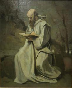 Reduc moine blanc assis et lisant 1850 1855